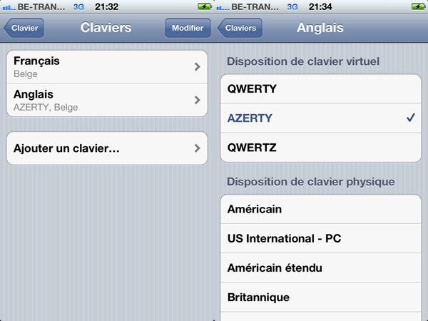 Clavier iPhone international